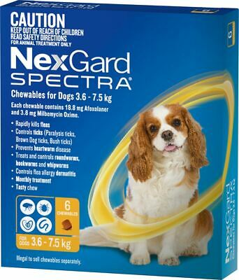 NexGard Spectra Chewables For Small Dogs 3.6-7.5kg - Yellow 6 Pack