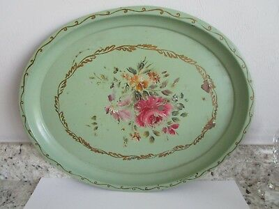 Primitive Large Oval Metal Tray Floral Design 17 x 14""
