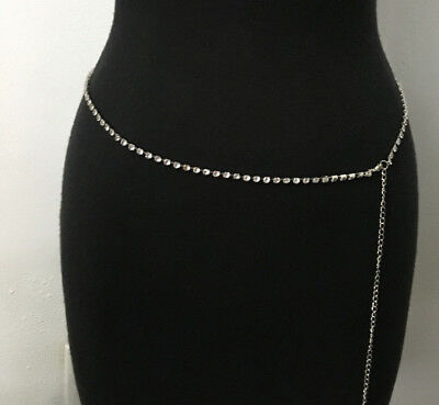 "Gr8tEstates  Silver Rhinestone Chain Belt Thin Light Bell 29-45""Long NEW #B41"