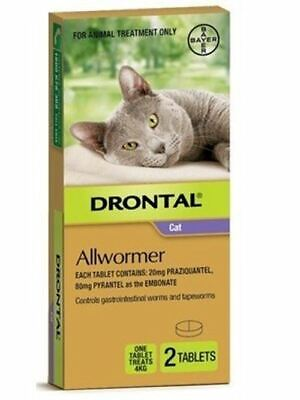 Drontal Allwormer for Cats 4 kg Tablets - 2 Pack