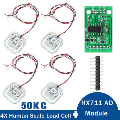 4Pcs 50KG Scale Body Load Cell Resistance Strain Weight Sensor + HX711 AD Module