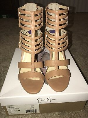 fde3013fe77 JESSICA SIMPSON SIZE 8.5 Honey Brown Leather Sandals Heels New ...