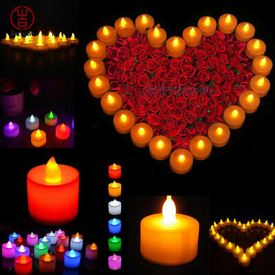 12/24/48/72Pcs LED Tea Light Tealight Candle Flameless Orange Wedding Decoration