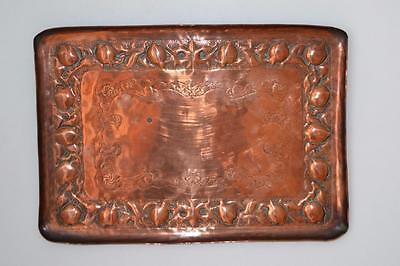 Rare huge Newlyn copper tray J.D Mackenzie / P.Hodder Newlyn 1899 script signed