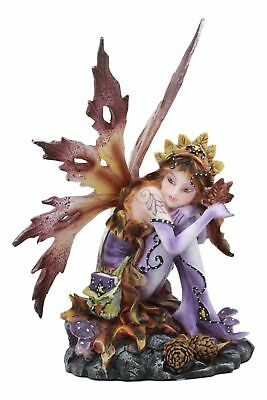 "Sitting Autumn Fairy Garden Statue 6.5""Tall Fall Season Fae Figurine Collection"