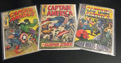 Look! Lot of *3* Early CAPTAIN AMERICA: #101 (#2), 102 (#3) + #110 Steranko (G+)