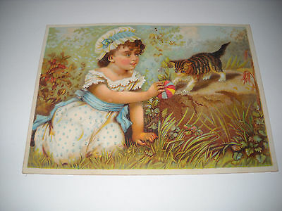 GIRL PLAYS BALL WITH KITTEN antique Victorian LG scrapbook card CHROMOLITHOGRAPH