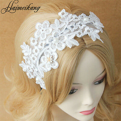 Fashion Wide Lace Faux Pearl Wide Headband Hair Band Women Hairband Head Wrap