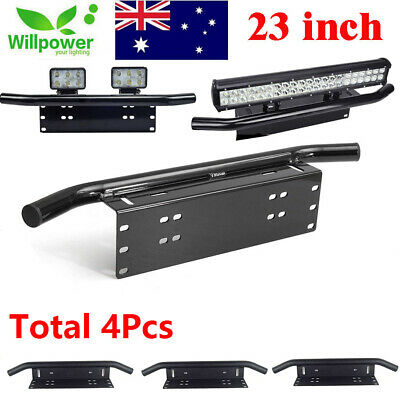 4X 23inch Offroad LED Light Bar Front Bumper License Plate Mount Bracket Holder
