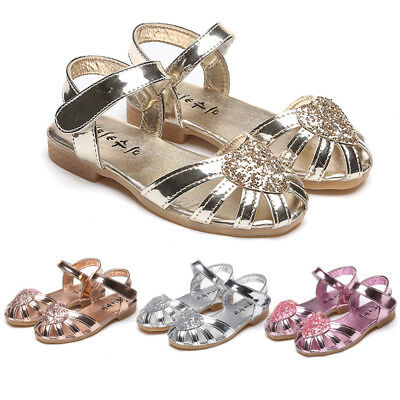 2018 Kids Baby Girls Soft Sole Sandals Toddler Summer Flat Shoes Heart Sandal