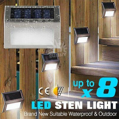 Outdoor Solar LED Deck Garden Stair Step Lights Stainless Steel Wall Pathway AU