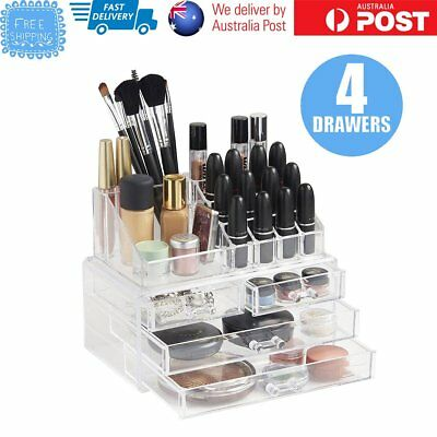 Cosmetic 4 Drawer Clear Acrylic Box Organizer Storage Jewellery Makeup Holder SY