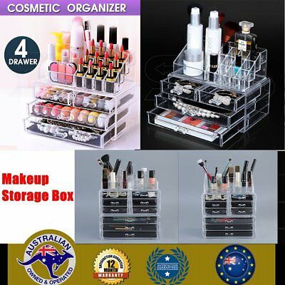 Cosmetic Organizer Clear Acrylic Make-Up Drawers Holder Case Box Jewelry E