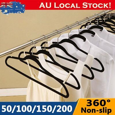 Coat Hangers Flocked Velvet Nonslip Coat Clothes Closet Slim Thin 50 - 200 BG