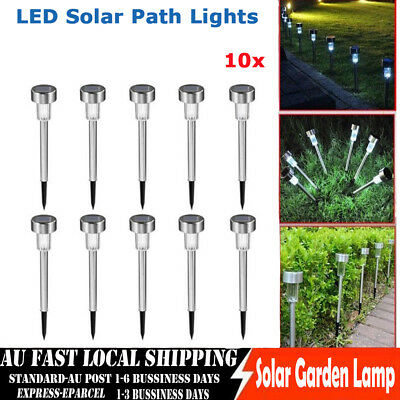 10x Solar Power Color Changing / White Garden Lights LED Post Pathway Lawn Light