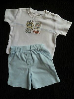 Baby clothes BOY 0-3m NEXT/Cherokee outfit SS t-shirt/blue soft shorts SEE SHOP
