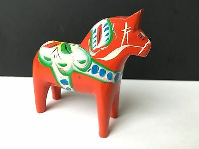 "Vintage Nils Olsson Sweden Folk Art Red Dala Horse 3"" Authentic"