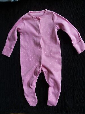 Baby clothes GIRL newborn 0-1m F&F cotton mid-pink/white spot babygrow SEE SHOP!