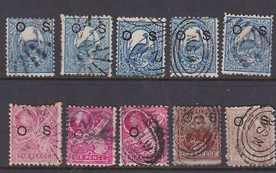 "Nsw 1888 Centenary ""os"" Official Stamps To 6D Lot X10 Used (Dm132 )"