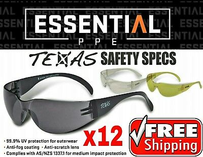 Texas Safety Glasses 12 pack All Colours BULK BUY!! Maxisafe cobra tsunami SGA