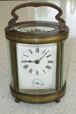 19Th Century Victorian Oval Carriage Clock With Alarm - For Restoration