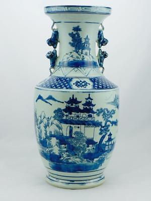 Stunning Large Chinese Blue & White Porcelain Vase With Ears Scenic Design