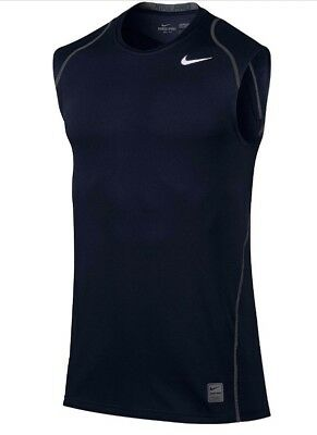 0dcde3a024aadf Nike Men s Pro Cool Dri-FIT Fitted Sleeveless Shirt 703102-451 Obsidian S  NWT