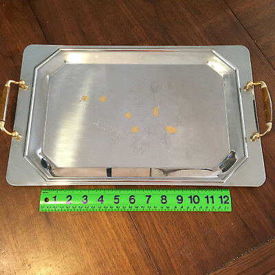 Vintage Stainless Steel Serving Tray w/ Wood Handles INOX 18/10 Made in Italy