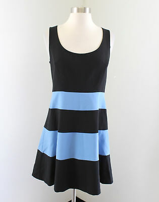 31a4a7ec1c9 Ann Taylor Loft Black Blue Striped Cute Fit and Flare Dress Size 4P P4  Casual
