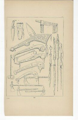 "George Catlin ~ "" Tomahawks and scalping knives "" ~ 1892 Illustration Plate ""99"""