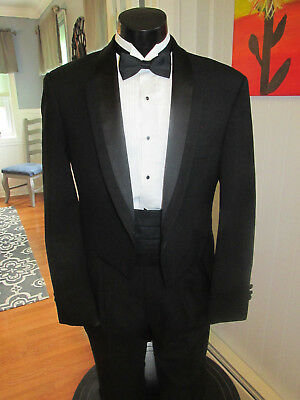 Mens Vintage Black Bordered Notch Lapel Tail Tuxedo Christian Dior 4 Pcs Nb53