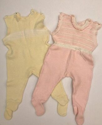 Vintage Novelty Knit Baby Clothes Pink/Yellow Footed One-Piece Rompers 3-6 Month