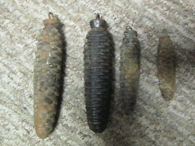 Lot of 4 Vintage Cuckoo Clock Cast Iron Pine Cone Weights