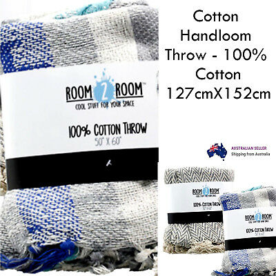 100% Cotton Knit Knitted Throw soft Sofa Lounge Bed Fringe Throw blue/creamy rug