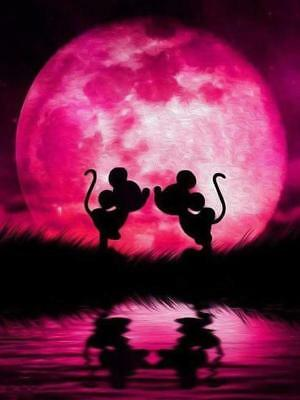 5D Diamond Painting Mickey and Minnie Mouse Ocean Sunset Kit