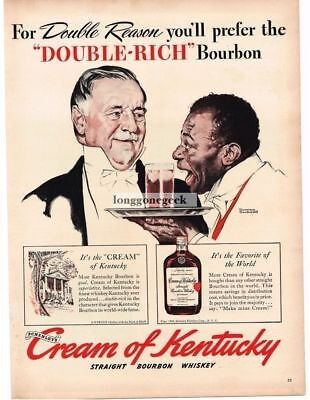 1940 Cream of Kentucky Bourbon Whiskey Norman Rockwell art Vtg Print Ad #1