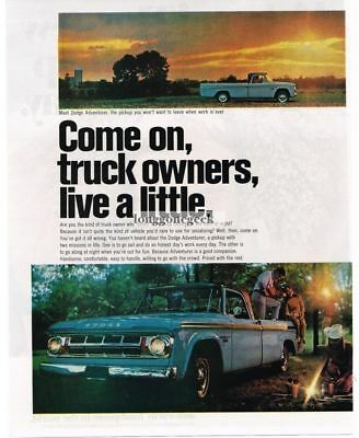 1967 Dodge Adventurer Pickup Truck Vtg Print Ad