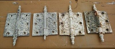 4 old antique ornate 4X4 cast iron door hinges