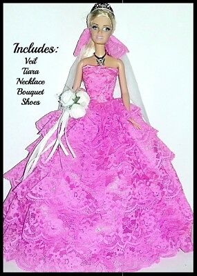 SPECIAL - Barbie Doll Clothes Purple Dress & Veil /Wedding/Party/Evening