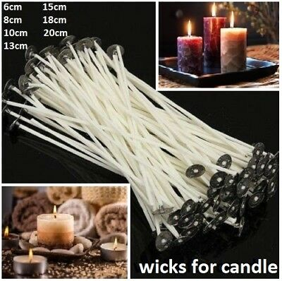White Pre Wicks For Candle Making Waxed With Sustainers Cotton