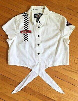6fc38365b4934f Harley Davidson Motorcycle Short Sleeve Tie Front Blouse Button Down  Women s (M)