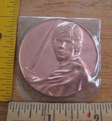 Star Wars Luke Skywalker 2005 bronze look coin MIP California Lottery promo