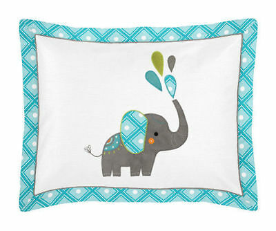TWO Sweet Jojo Designs Teal Grey Jungle Elephant STANDARD SHAMS Girl Boy NEW