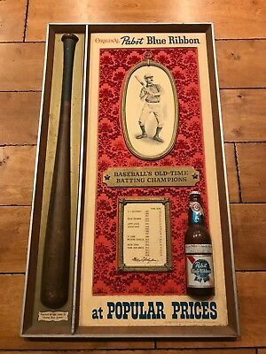"1960S Vintage Pabst Blue Ribbon Sign Baseball Player Greats Ty Cobb 32"" X 18.75"""