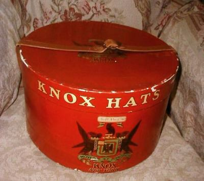 Vintage 1940s KNOX Men's HAT BOX Red w Leather Straps Thick Sturdy w Insert VG
