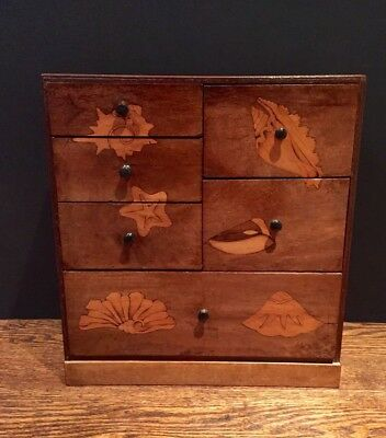 Antique 1930's Marquetry Inlaid Curiosity Chest Of Drawers Wooden Box Filing
