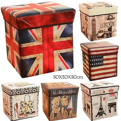 Box Chair Tidy Retro Collapsible Cube Home Decor Organizer With Lid Books