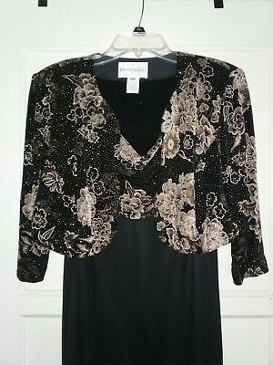 Gorgeous Blk/Gold Embroidered Mother of the bride dress.  FREE SHIPPING USA