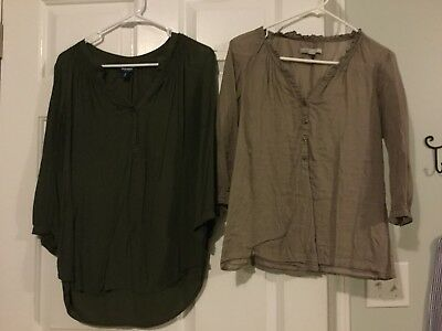 Lot Of Two Women's Old Navy Shirts Size Medium Brown And Olive Green