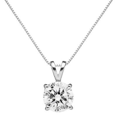 2 Ct Round Solitaire Diamond Pendant Necklace in Real Solid 14k White Gold
